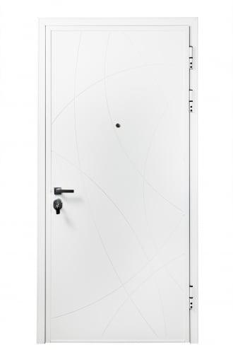 Блиндирана врата с основно скрито и допълнително механично заключване iDoor 3.0 с бяла полиуретанова боя и фрезовка