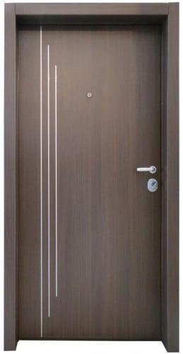 Блиндирана врата с основно скрито и допълнително механично заключване iDoor 3.0 с метални апликации