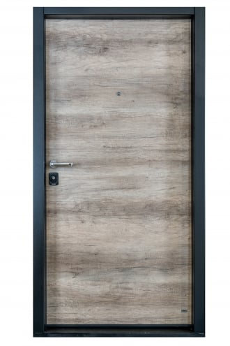 Блиндирана врата с основно скрито и допълнително механично заключване iDoor 3.0 с дървесен декор и черна каса
