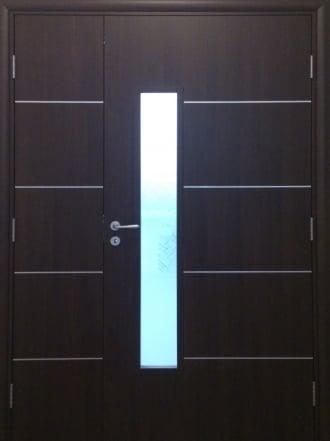 Интериорна врата Art line двукрила - с дървесен декор и остъкляване