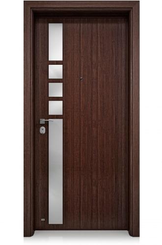 Блиндирана врата с основно скрито и допълнително механично заключване iDoor 3.0 с алуминиеви апликации